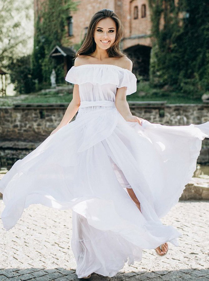 Boho A-Line Off-the-Shoulder Floor-Length Chiffon Wedding Dress with Ruffles