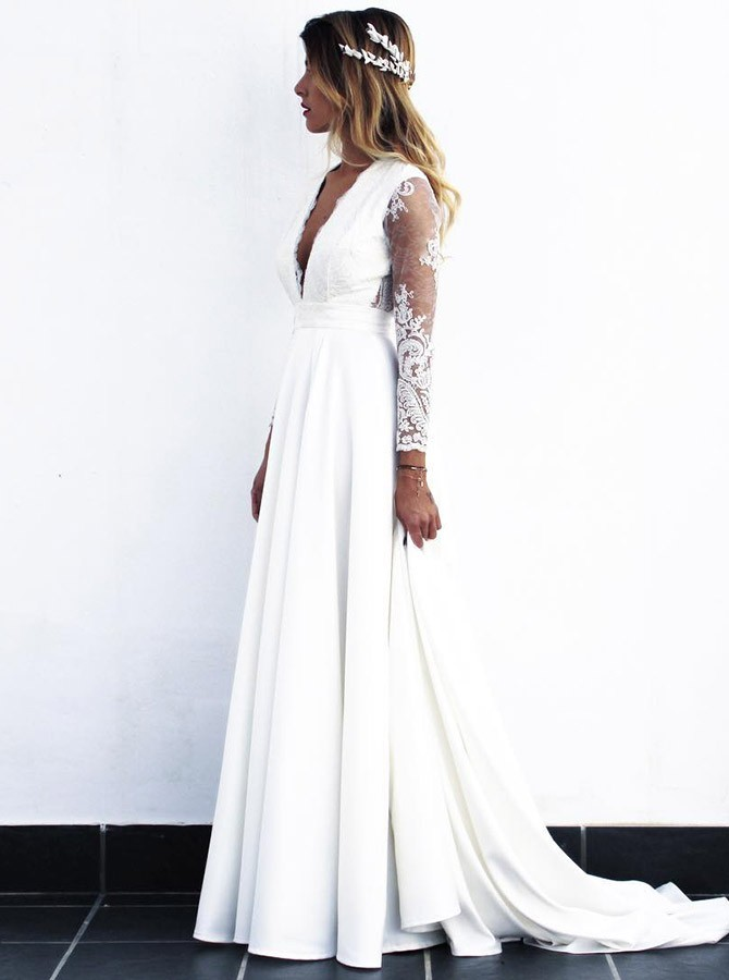 A-Line V-Neck Open Back Long Sleeves Satin Wedding Dress With Lace