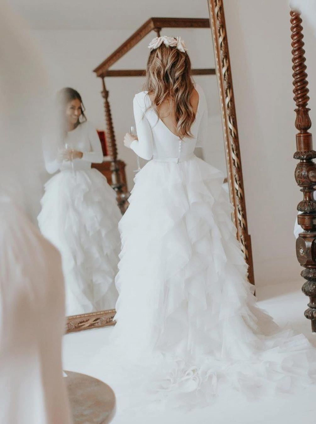 Dreamy Jewel V-neck Back Tiered Long Sleeves Wedding Dress with Sweep Train