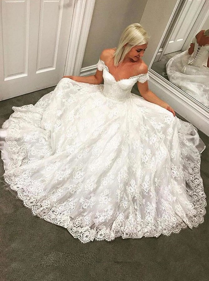 A-Line Off-the-Shoulder Floor-Length White Lace Wedding Dress