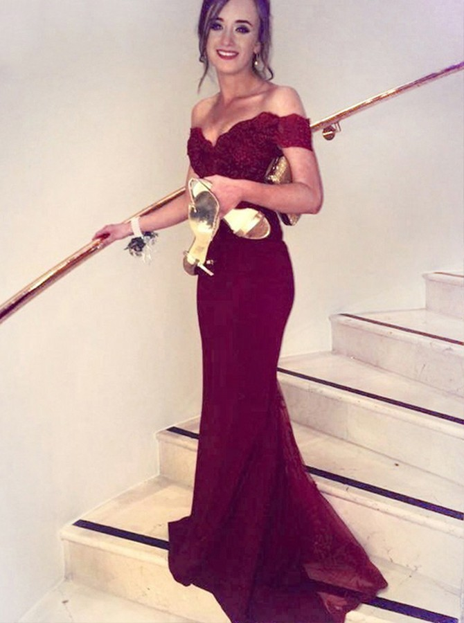 Top Mermaid Off-the-Shoulder Long Burgundy Satin Prom Dress with Lace