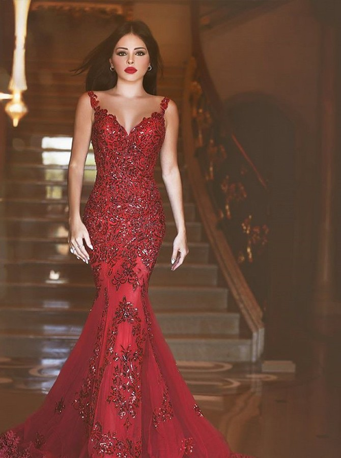 Mermaid V-Neck Sweep Train Burgundy Prom Dress with Beading Appliques
