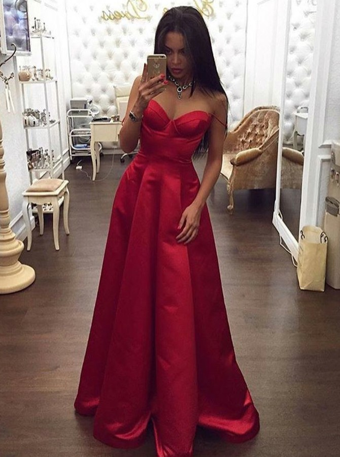 A-Line Spaghetti Straps Backless Red Satin Prom Dress with Ruched