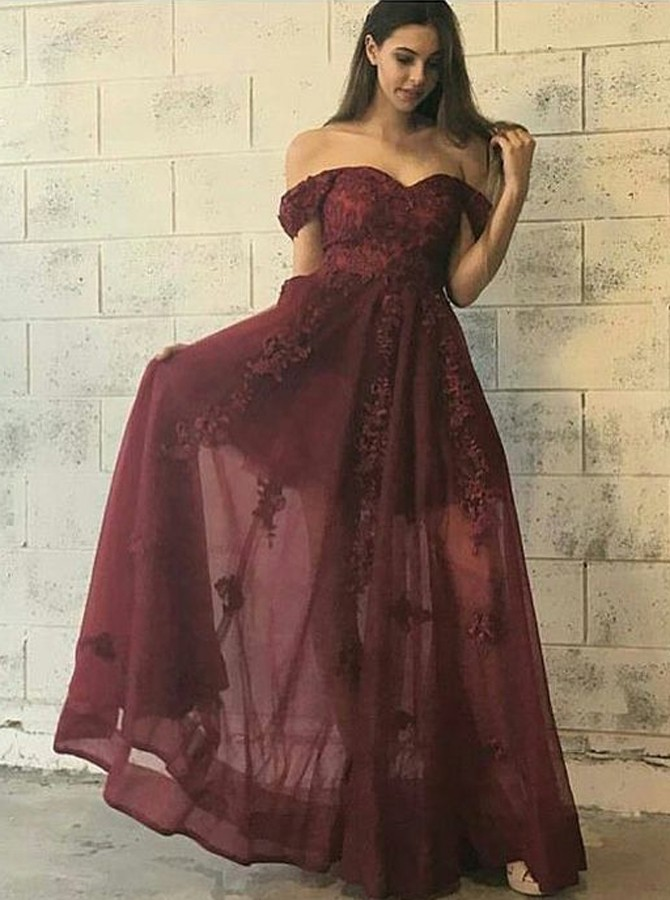 A-Line Off-the-Shoulder Floor-Length Burgundy Appliques Prom Dress