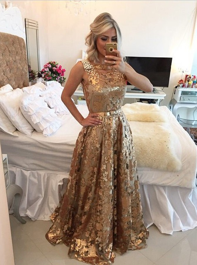 Luxurious A-Line Square Long Gold Prom Dress with Sequins Pearls