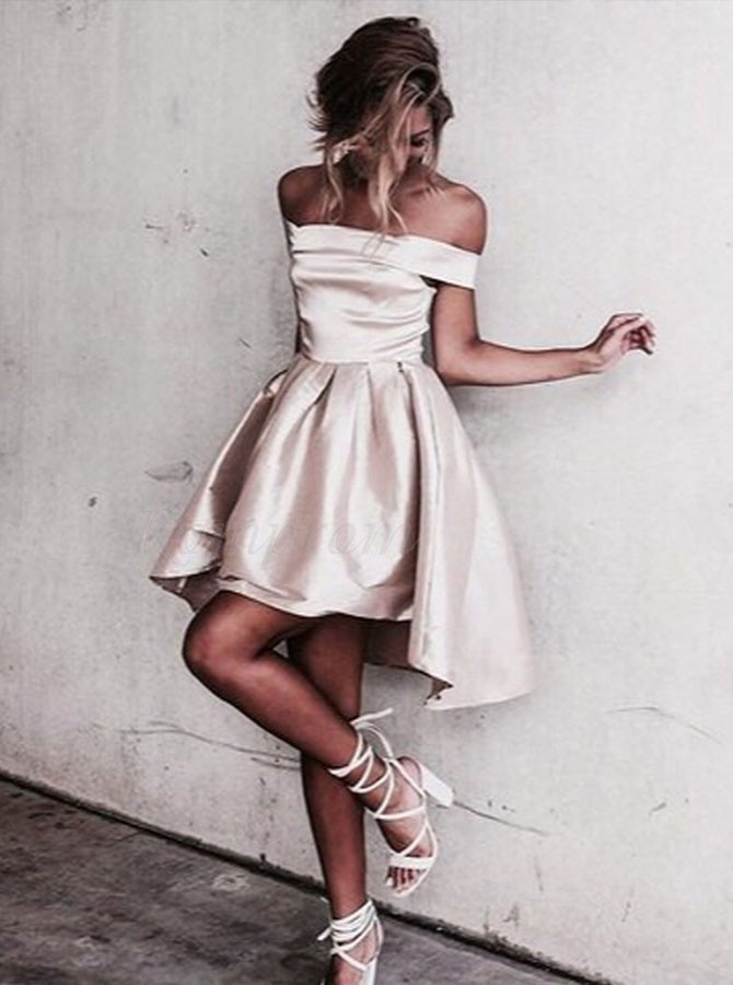 A-Line Off-the-Shoulder High Low Champagne Satin Prom Dress