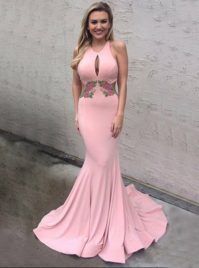 Mermaid Scoop Open Back Sweep Train Pink Prom Dress with Appliques