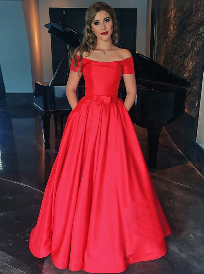 A-Line Off-the-Shoulder Short Sleeves Red Satin Prom Dress with Pockets