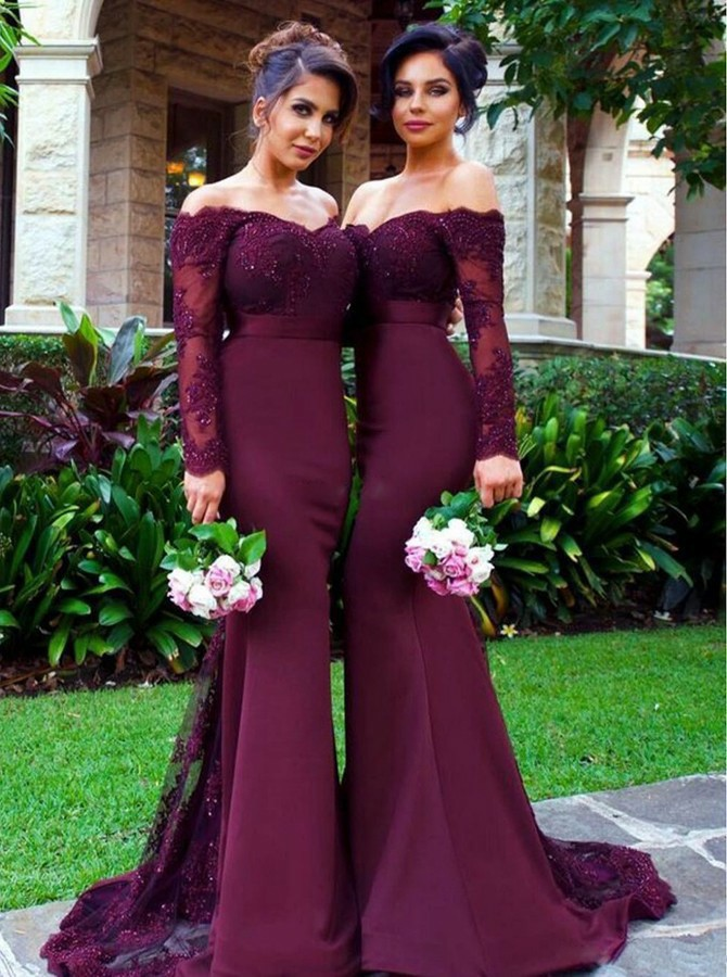 Mermaid Off-the-Shoulder Long Sleeves Burgundy Prom/Bridesmaid Dress with Appliques