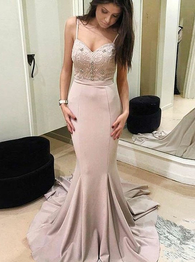 Mermaid Spaghetti Straps Sweep Train Blush Prom Dress with Beading