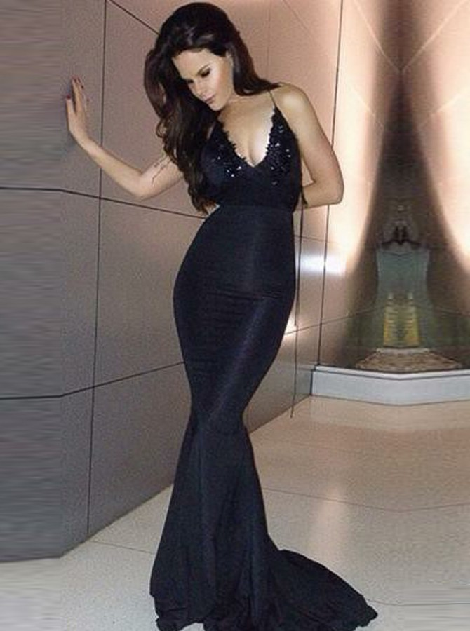 Mermaid Scoop Sweep Train Black Prom Dress with Beading