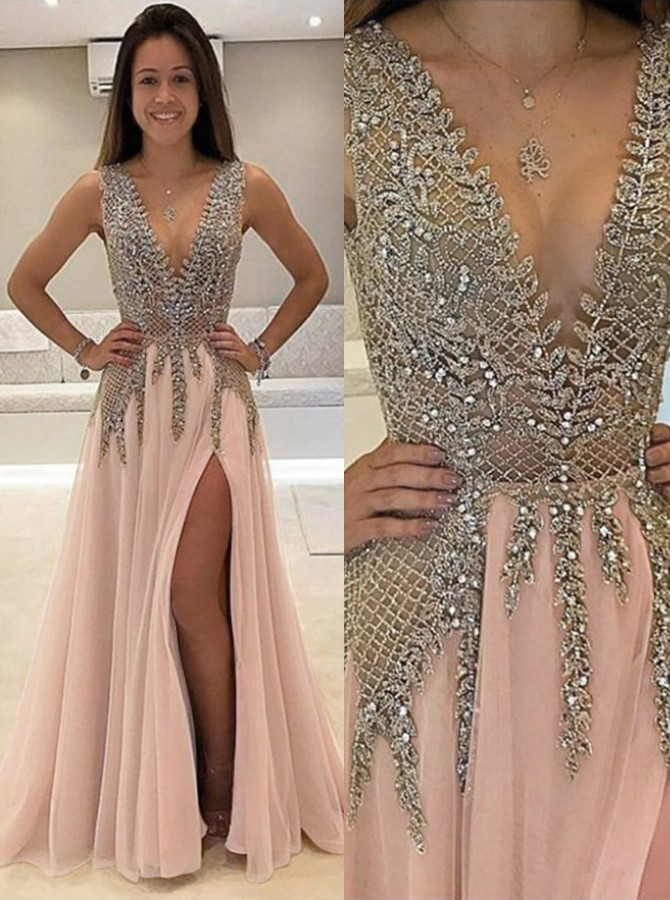 A-Line Deep V-Neck Split Sleeveless Pink Tulle Prom Dress with Beading