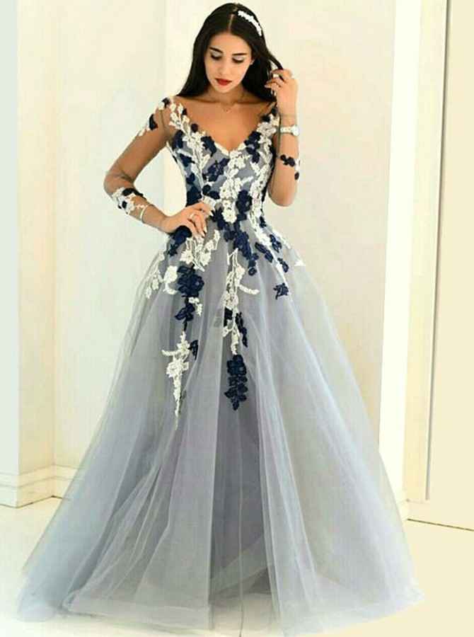 A-Line V-Neck Long Sleeves Grey Tulle Prom Dress with Appliques