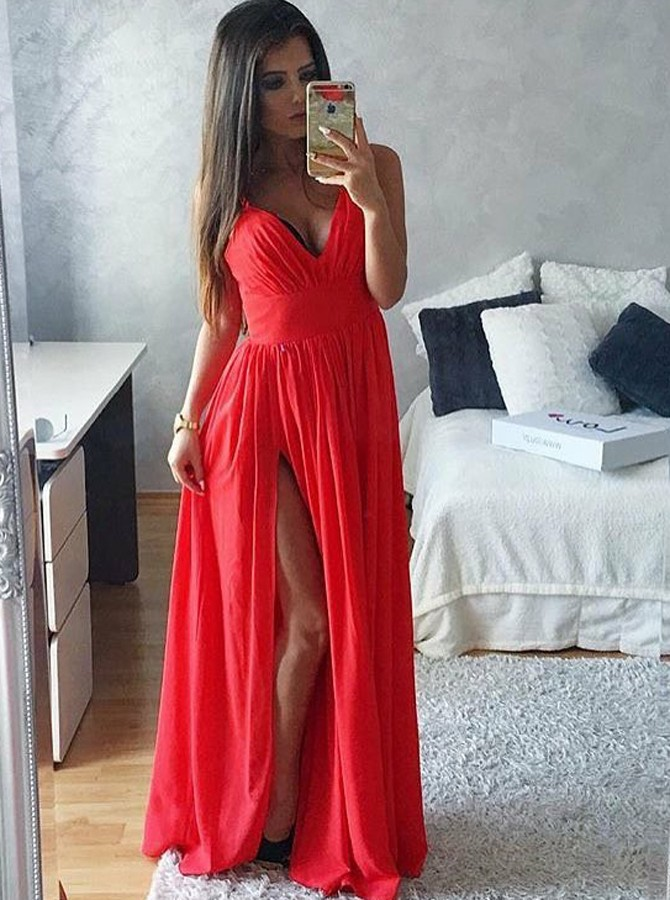 A-Line Spaghetti Straps Floor-Length Red Chiffon Prom Dress with Split