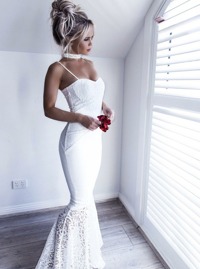 Mermaid Spaghetti Straps Long White Stretch Satin Prom Dress with Lace