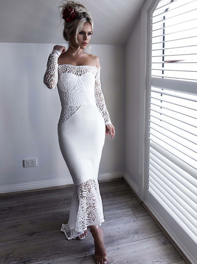 Mermaid Off-the-Shoulder Long Sleeves Prom Dress  High Low White Lace Bridesmaid Dress