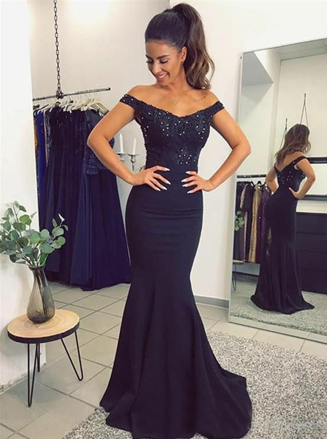Mermaid Off-the-Shoulder Sweep Train Navy Blue Prom Dress with Beading
