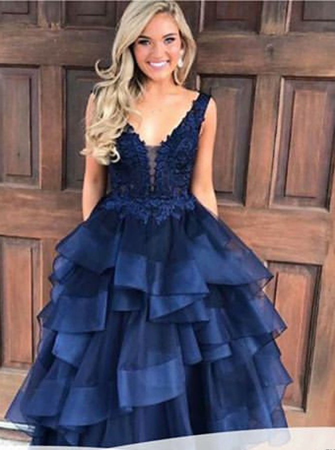 Ball Gown Scoop Backless Floor-Length Navy Blue Appliques Prom Dress