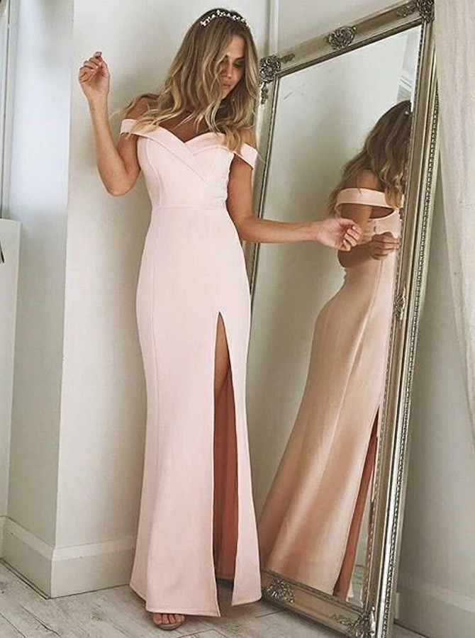 Sheath Off-the-Shoulder Pink Strech Satin Prom Dress with Split
