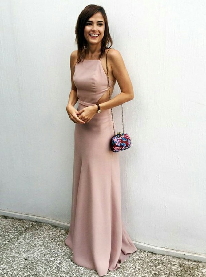 Sheath Halter Backless Floor-Length Blush Elastic Satin Prom Dress