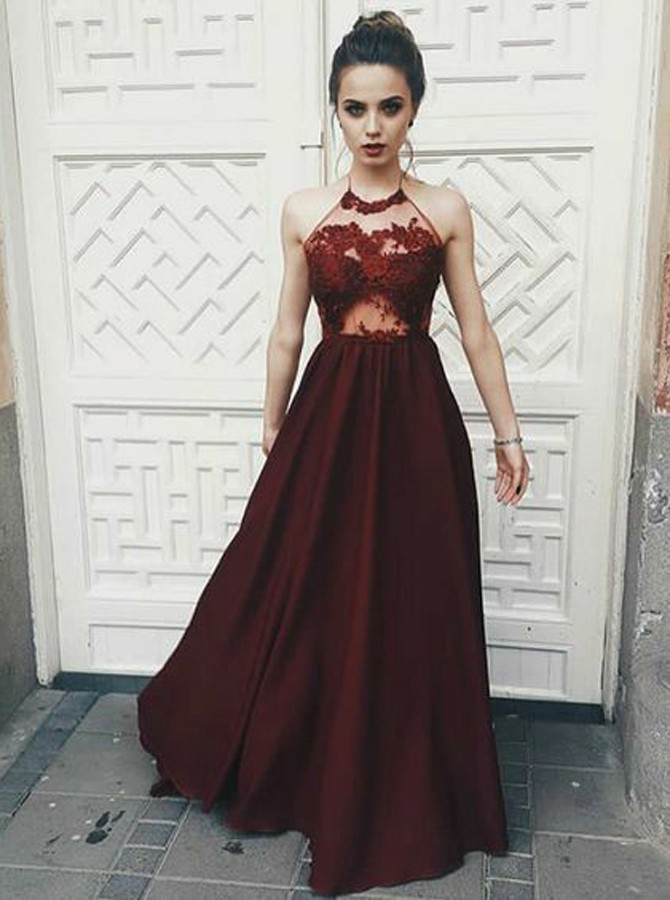 A-Line Halter Backless Floor-Length Burgundy Prom Dress with Appliques