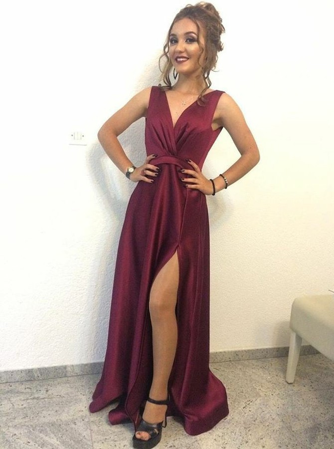 A-Line V-Neck Backless Sweep Train Wine Prom Dress with Split