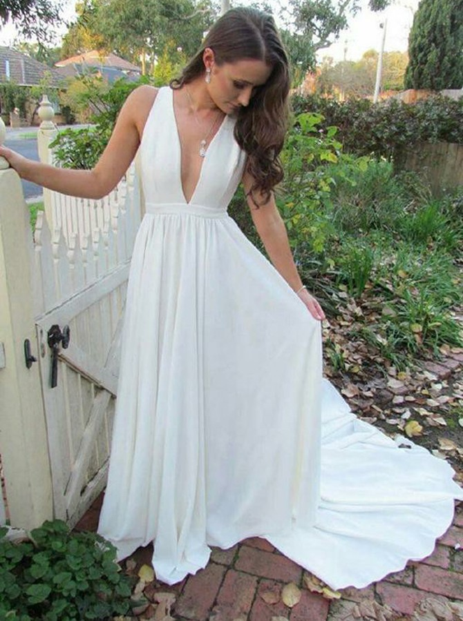 A-Line Deep V-Neck Sweep Train White Elastic Satin Prom Dress