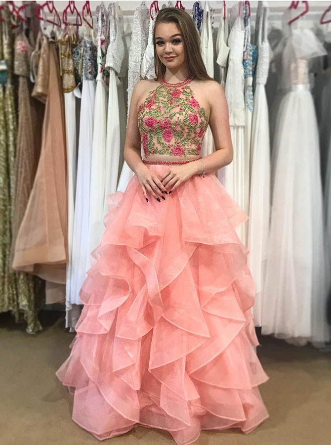Two Piece Round Neck Tiered Coral Open Back Prom Dress with Appliques