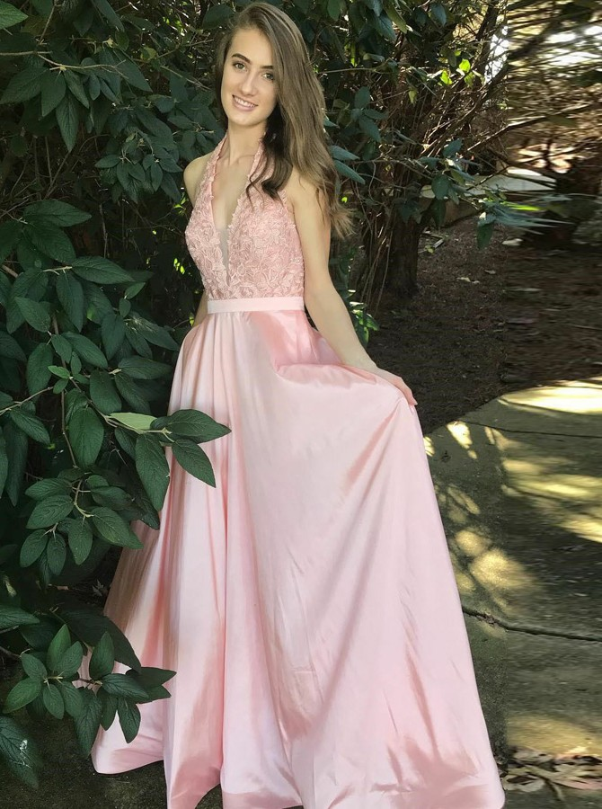 A-Line Halter Backless Floor-Length Pink Satin Prom Dress with Sash Lace