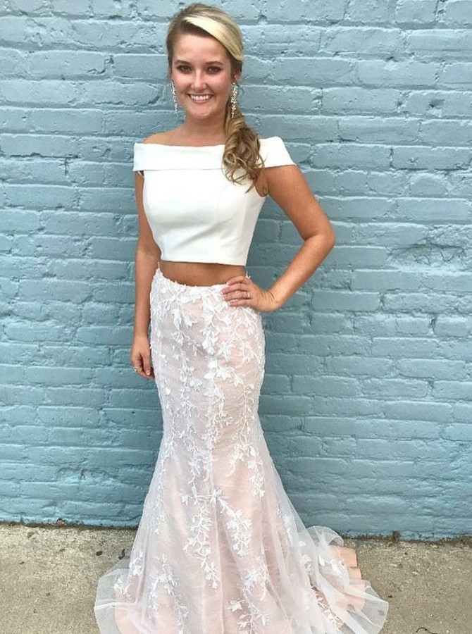 Two Piece Off-the-Shoulder Ivory Tulle Prom Dress with Appliques