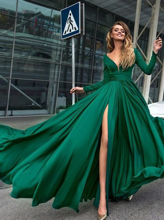 A-Line V-Neck Long Sleeves Dark Green Prom Dress With Split-Front