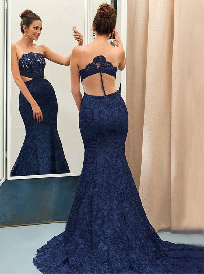 Mermaid Round Neck Sweep Train Navy Blue Lace Prom Dress