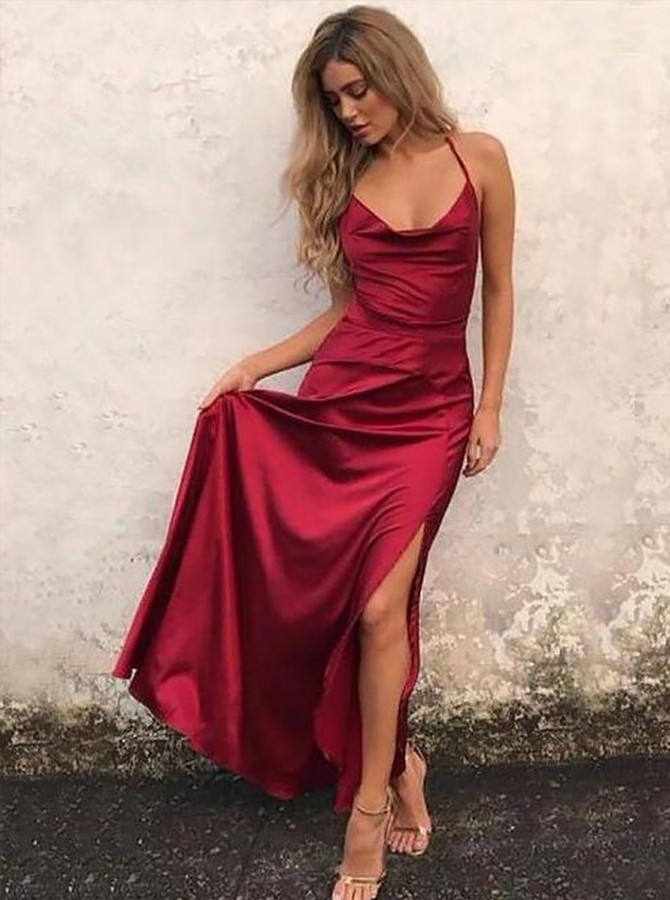 A-Line Spaghetti Straps Floor-Length Burgundy Prom Dress with Split