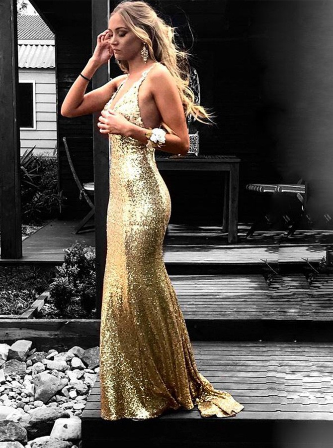 Mermaid V-Neck Sweep Train Gold Backless Prom Dress with Lace