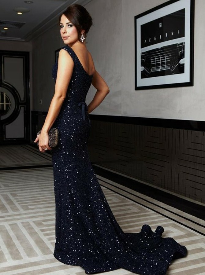 Mermaid Scoop Sweep Train Navy Blue Sequined Prom Dress