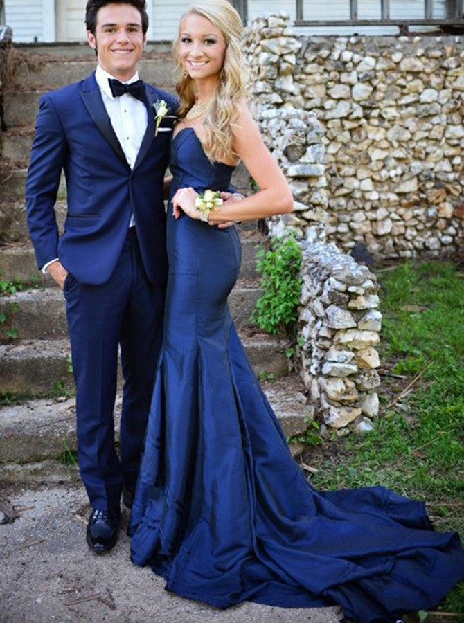 Mermaid Sweetheart Backless Sweep Train Dark Blue Prom Dress
