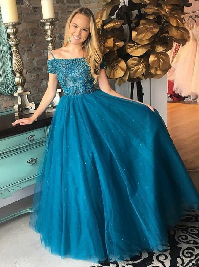 A-Line Off-the-Shoulder Short Sleeves Turquoise Prom Dress with Beading