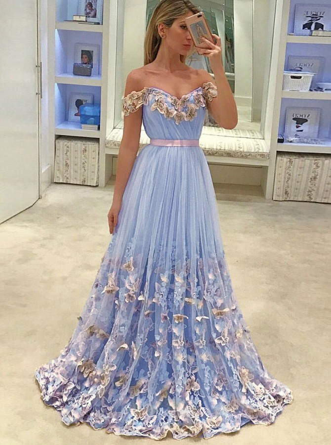 Elegant A-Line Off-the-Shoulder Long Sky Blue Tulle Prom Dress with Appliques