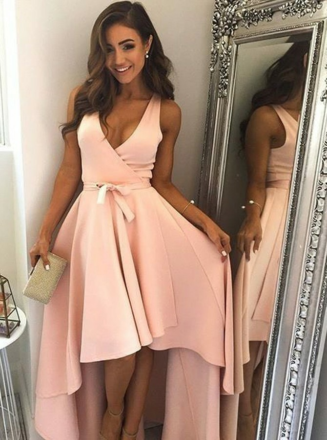High Low A-line V-Neck Pink Prom Dress with Ruffles