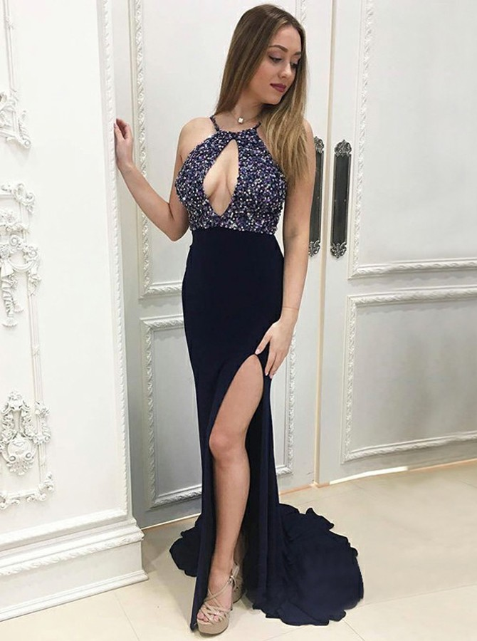 Mermaid Round Neck Sweep Train Prom Dress with Beading Keyhole