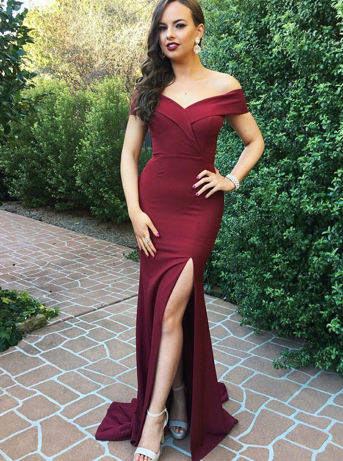 Mermaid Off-the-Shoulder Sweep Tarin Burgundy Prom Dress with Split