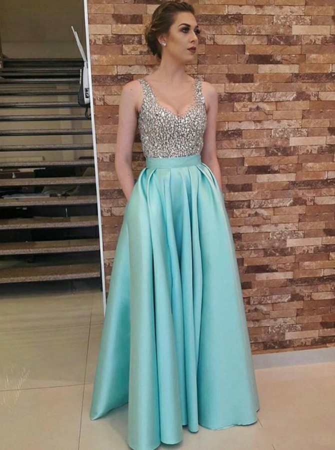 A-Line Scoop Floor-Length Sky Blue Prom Dress with Pockets Beading