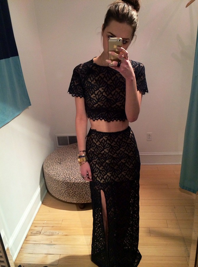 Two Piece Round Neck Floor-Length Black Lace Prom Dress with Split