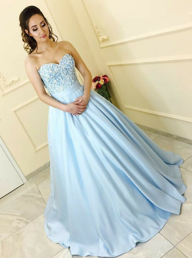 A-Line Sweetheart Sweep Train Light Blue Prom Dress with Appliques