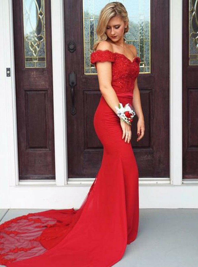 Mermaid Off-the-Shoulder Sweep Train Red Prom Dress with Appliques