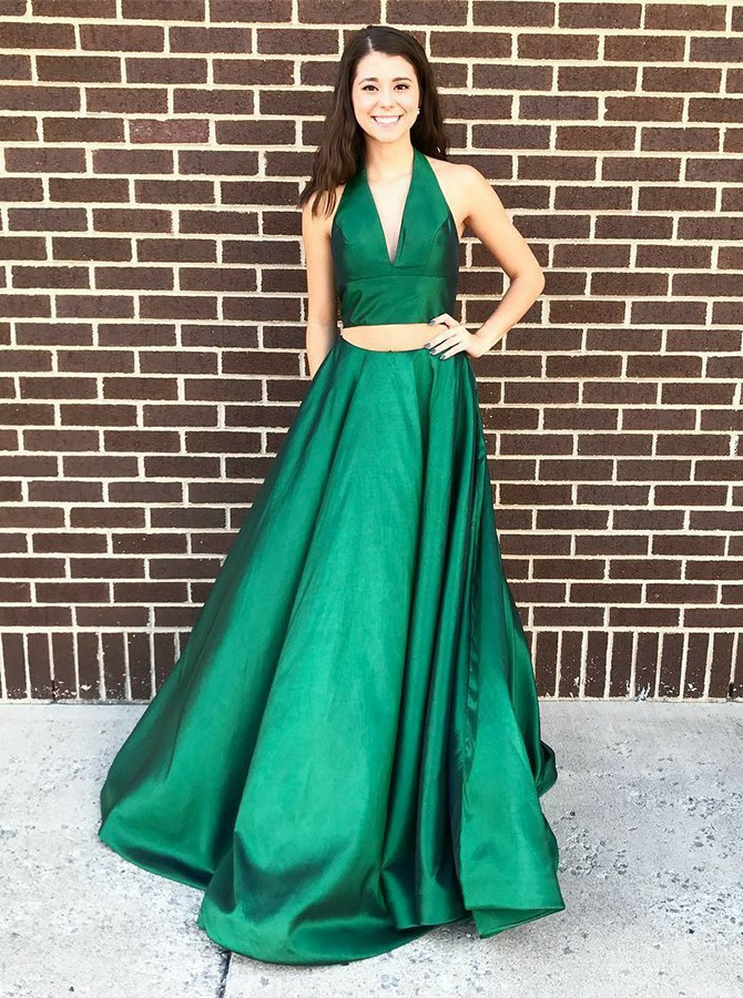 Two Piece Halter Backless Sweep Train Hunter Prom Dress with Pockets