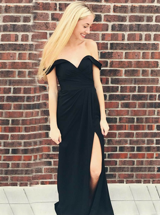 Sheath Off-the-Shoulder Sweep Train Black Prom Dress with Split