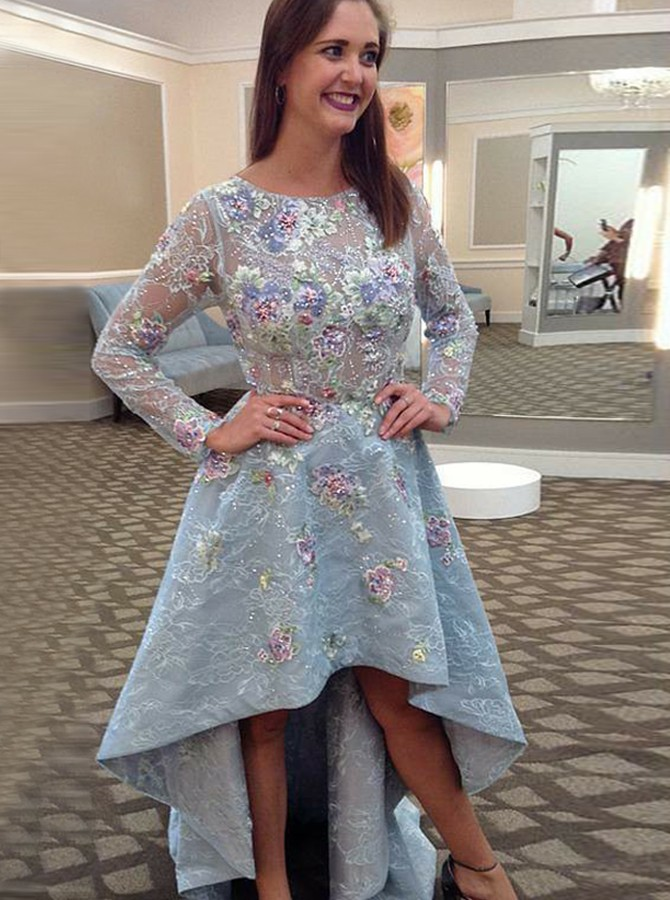 A-Line Round Neck High Low Prom Dress with Appliques Long Sleeves