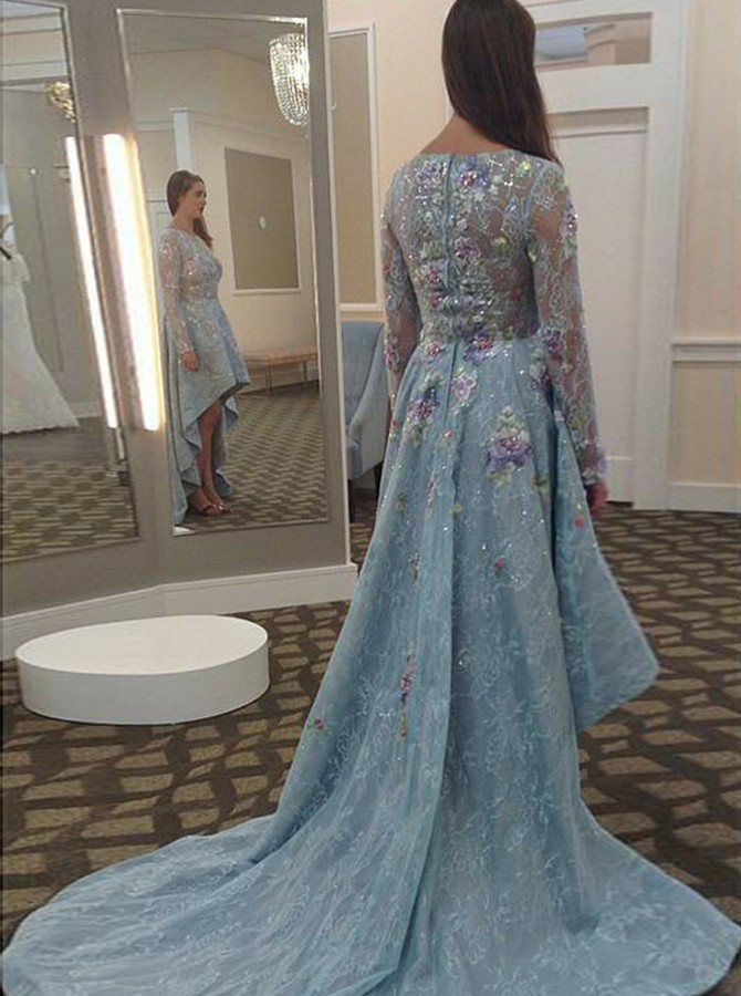 A-Line Round Neck Long Sleeves High Low Prom Dress with Appliques