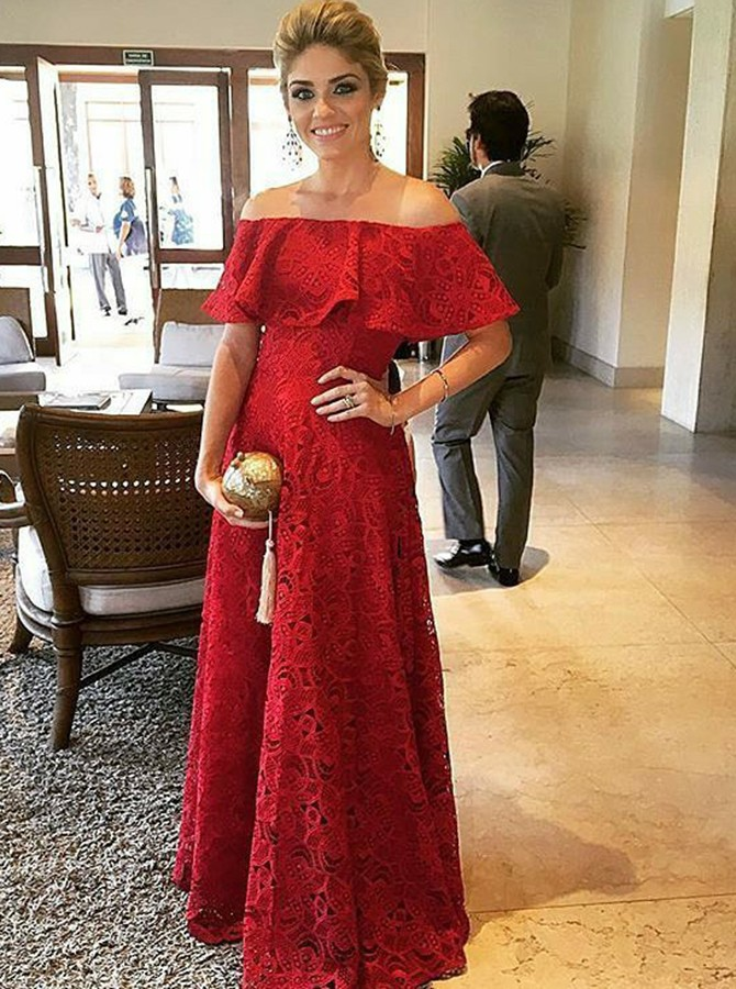 A-Line Off-the-Shoulder Sleeveless Floor-Length Red Lace Prom Dress